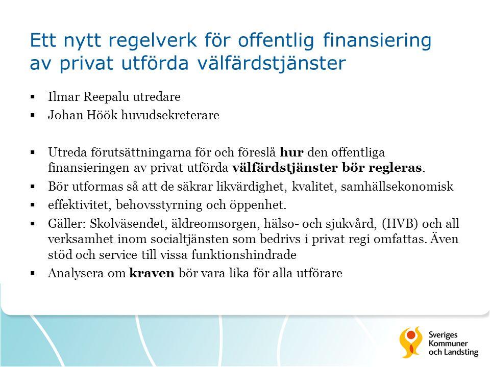 Ett nytt regelverk för offentlig finansiering av privat utförda välfärdstjänster  Ilmar Reepalu utredare  Johan Höök huvudsekreterare  Utreda förut