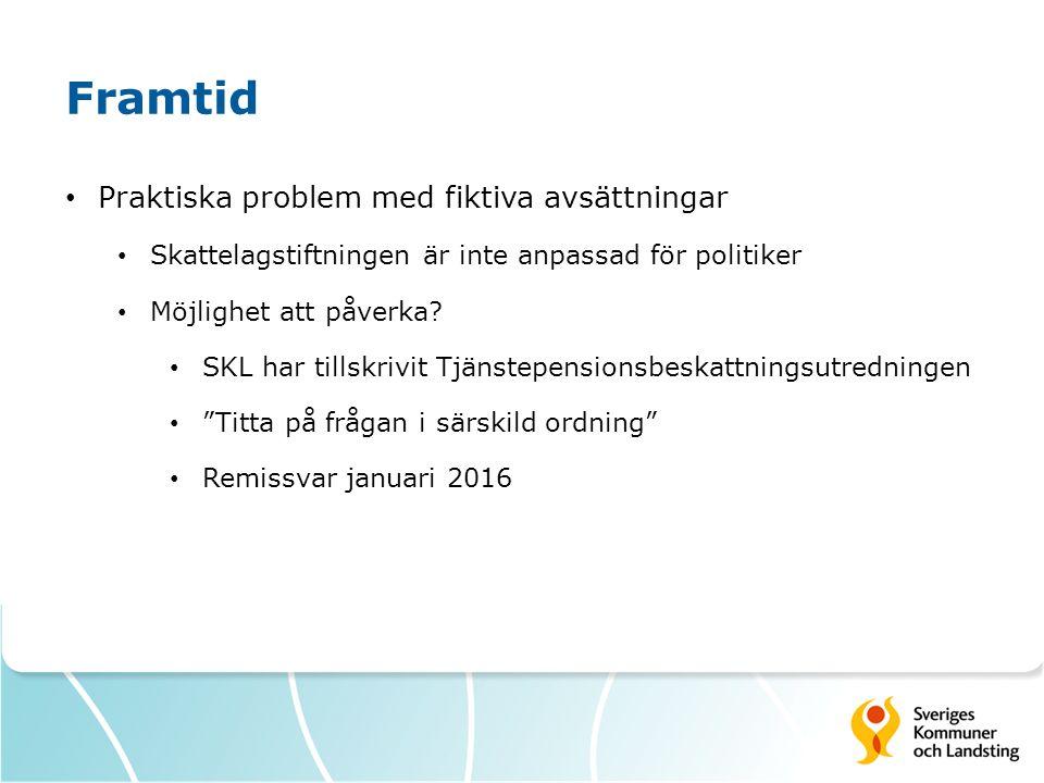 Framtid Praktiska problem med fiktiva avsättningar Skattelagstiftningen är inte anpassad för politiker Möjlighet att påverka? SKL har tillskrivit Tjän