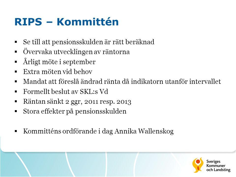 RIPS – Kommittén  Se till att pensionsskulden är rätt beräknad  Övervaka utvecklingen av räntorna  Årligt möte i september  Extra möten vid behov