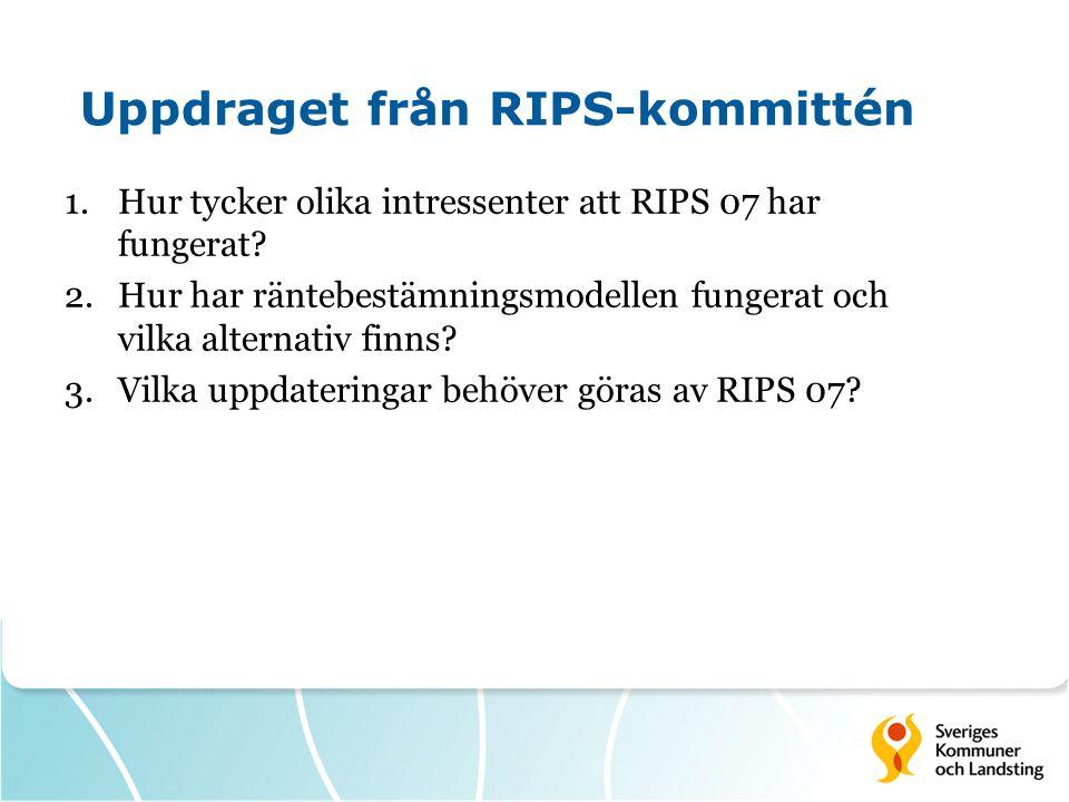 Uppdraget från RIPS-kommittén 1.Hur tycker olika intressenter att RIPS 07 har fungerat? 2.Hur har räntebestämningsmodellen fungerat och vilka alternat