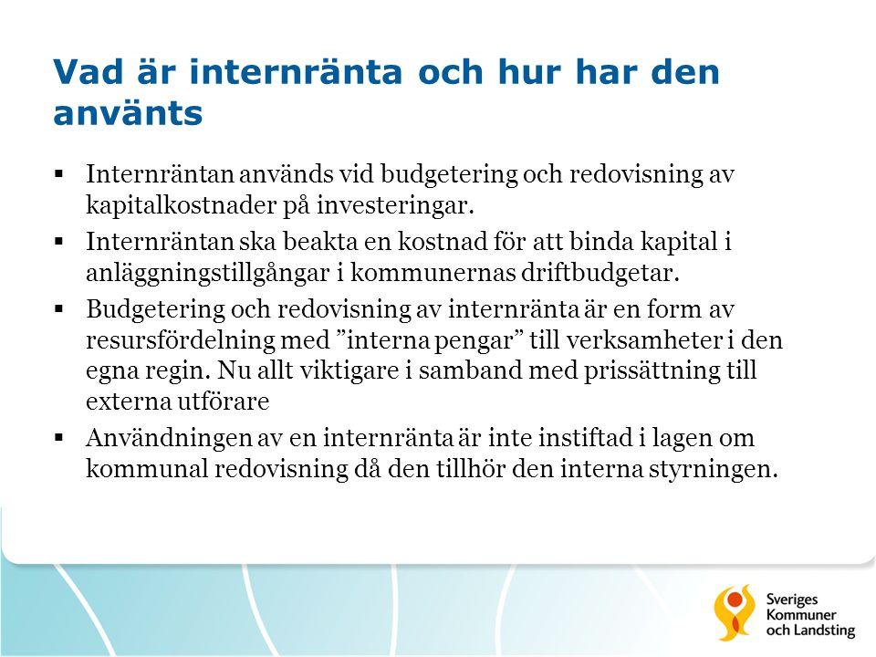 Vad är internränta och hur har den använts  Internräntan används vid budgetering och redovisning av kapitalkostnader på investeringar.  Internräntan