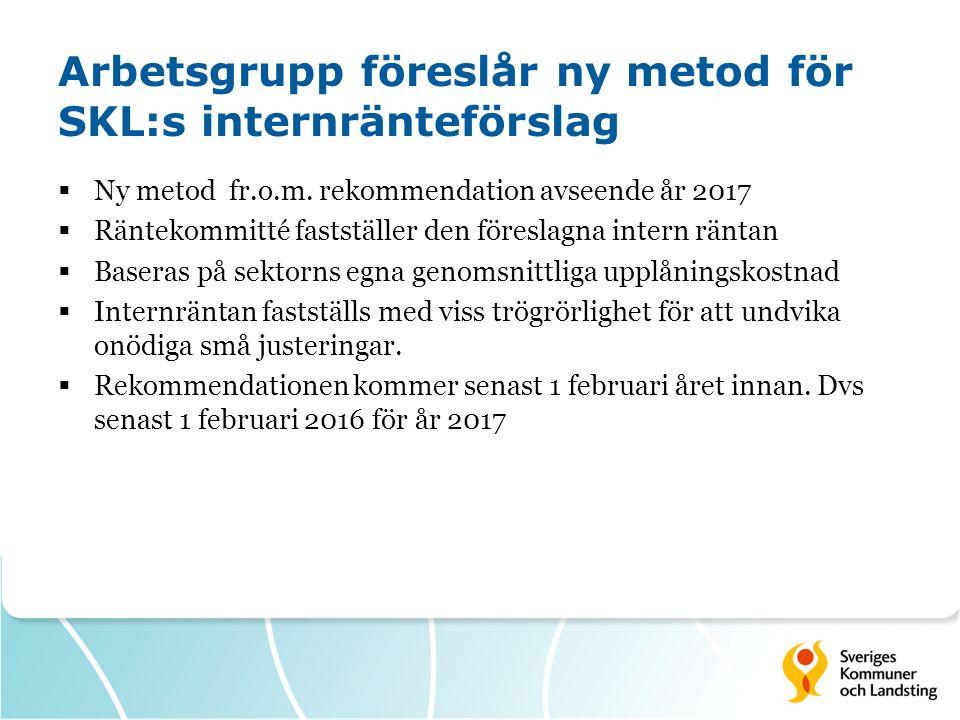 Arbetsgrupp föreslår ny metod för SKL:s internränteförslag  Ny metod fr.o.m. rekommendation avseende år 2017  Räntekommitté fastställer den föreslag