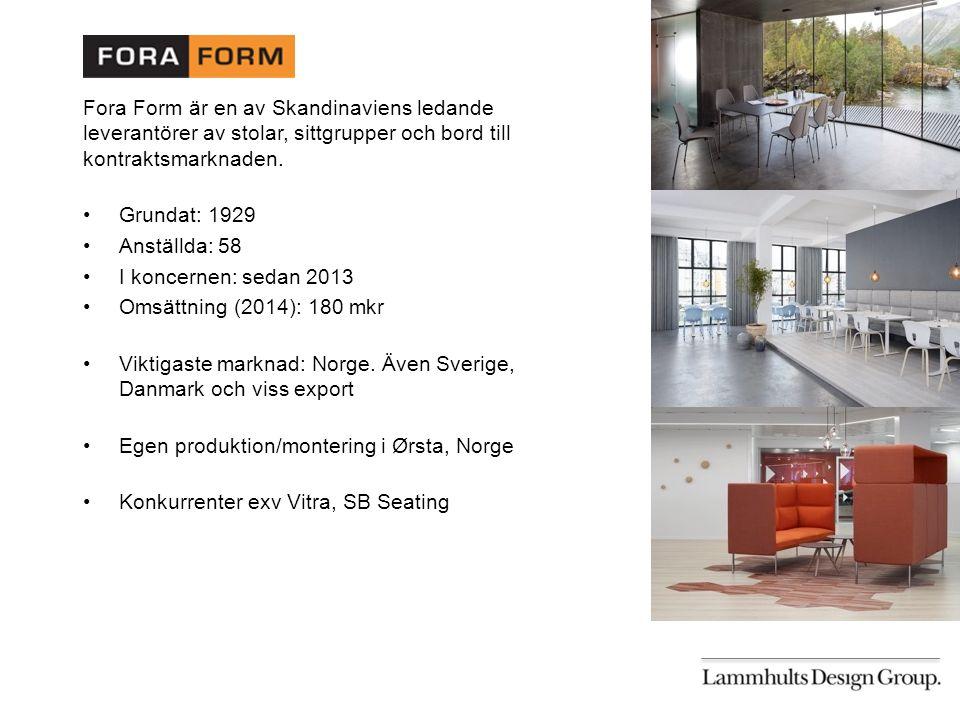 Fora Form är en av Skandinaviens ledande leverantörer av stolar, sittgrupper och bord till kontraktsmarknaden.