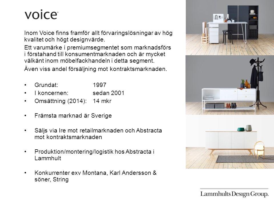 Inom Voice finns framför allt förvaringslösningar av hög kvalitet och högt designvärde.