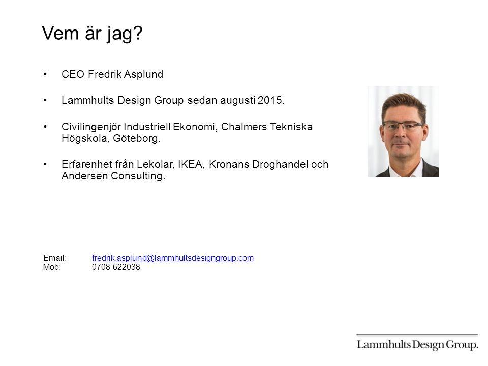 Vem är jag. CEO Fredrik Asplund Lammhults Design Group sedan augusti 2015.
