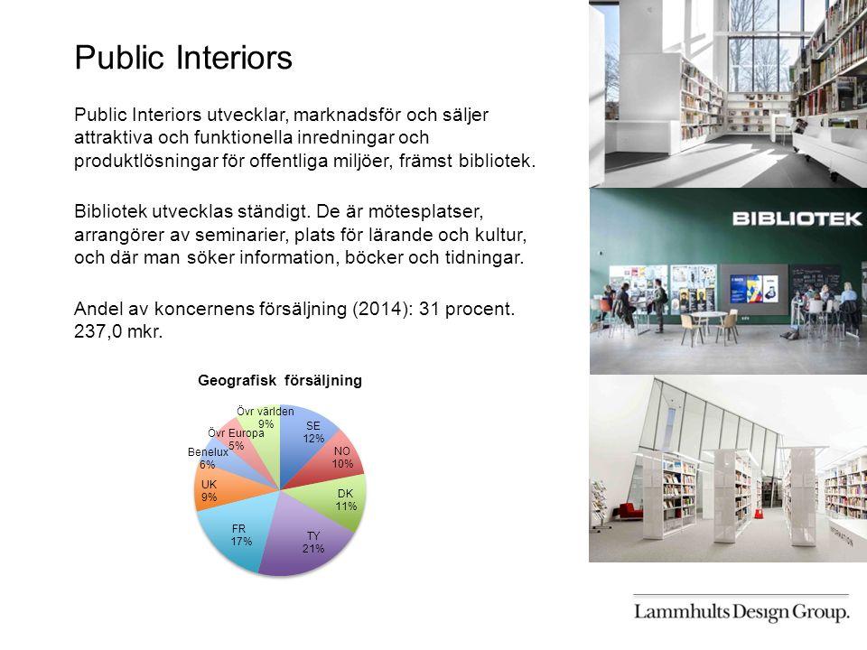 Public Interiors Public Interiors utvecklar, marknadsför och säljer attraktiva och funktionella inredningar och produktlösningar för offentliga miljöer, främst bibliotek.