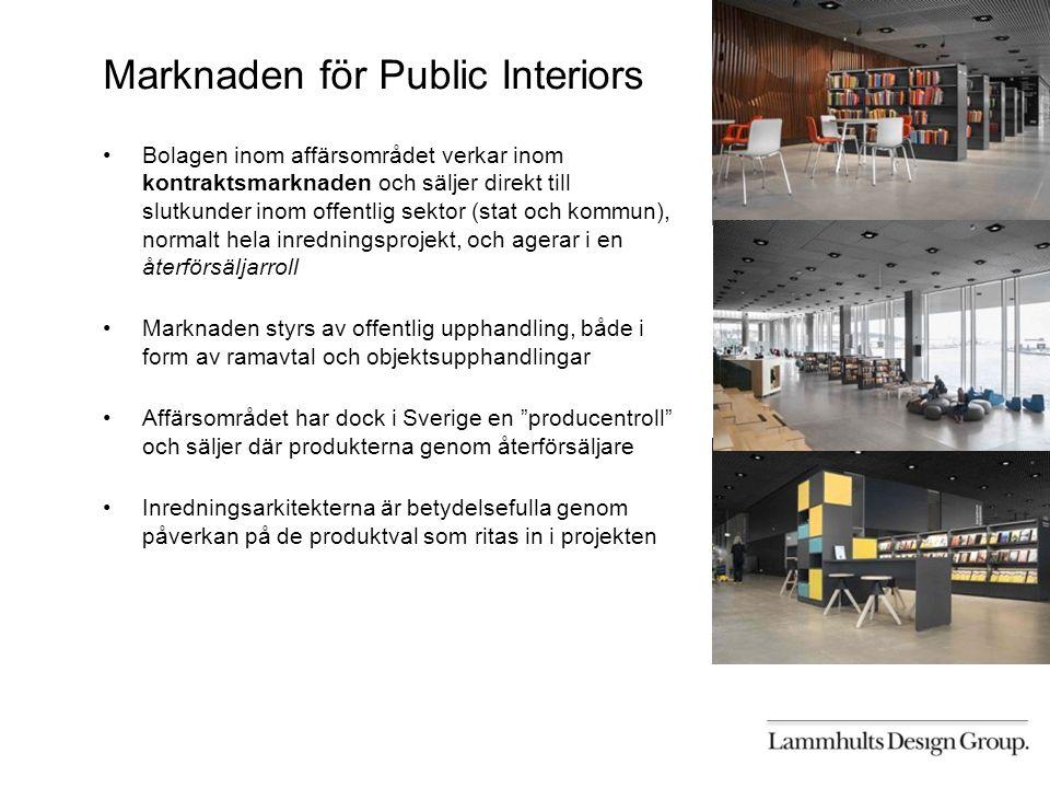 Marknaden för Public Interiors Bolagen inom affärsområdet verkar inom kontraktsmarknaden och säljer direkt till slutkunder inom offentlig sektor (stat och kommun), normalt hela inredningsprojekt, och agerar i en återförsäljarroll Marknaden styrs av offentlig upphandling, både i form av ramavtal och objektsupphandlingar Affärsområdet har dock i Sverige en producentroll och säljer där produkterna genom återförsäljare Inredningsarkitekterna är betydelsefulla genom påverkan på de produktval som ritas in i projekten