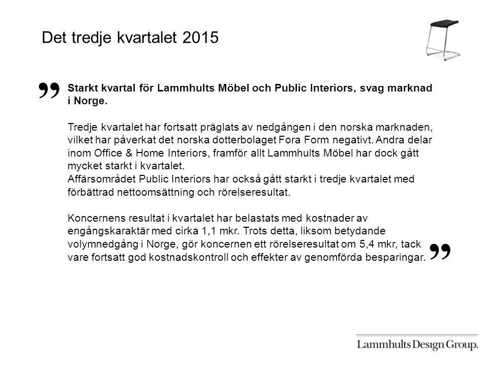 Starkt kvartal för Lammhults Möbel och Public Interiors, svag marknad i Norge.