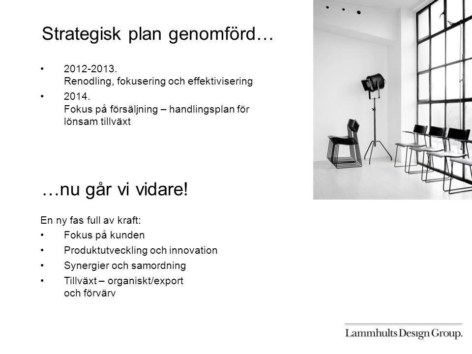 Strategisk plan genomförd… 2012-2013. Renodling, fokusering och effektivisering 2014.