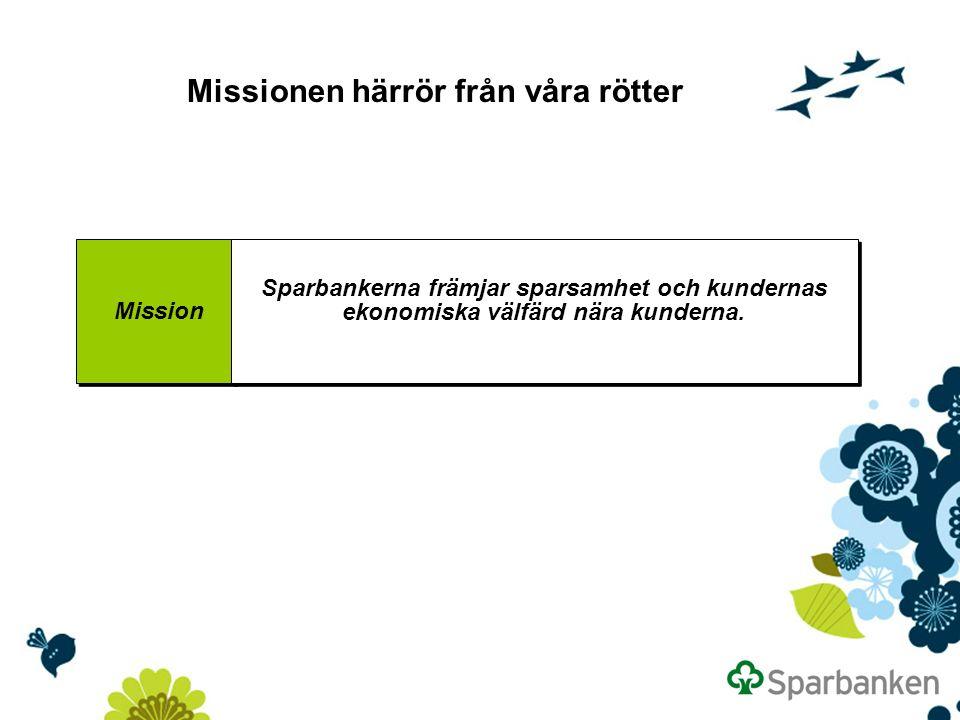 Missionen härrör från våra rötter Mission Sparbankerna främjar sparsamhet och kundernas ekonomiska välfärd nära kunderna.