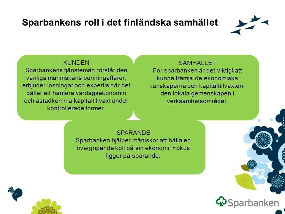 Sparbankens roll i det finländska samhället KUNDEN Sparbankens tjänstemän förstår den vanliga människans penningaffärer, erbjuder lösningar och expertis när det gäller att hantera vardagsekonomin och åstadkomma kapitaltillväxt under kontrollerade former.