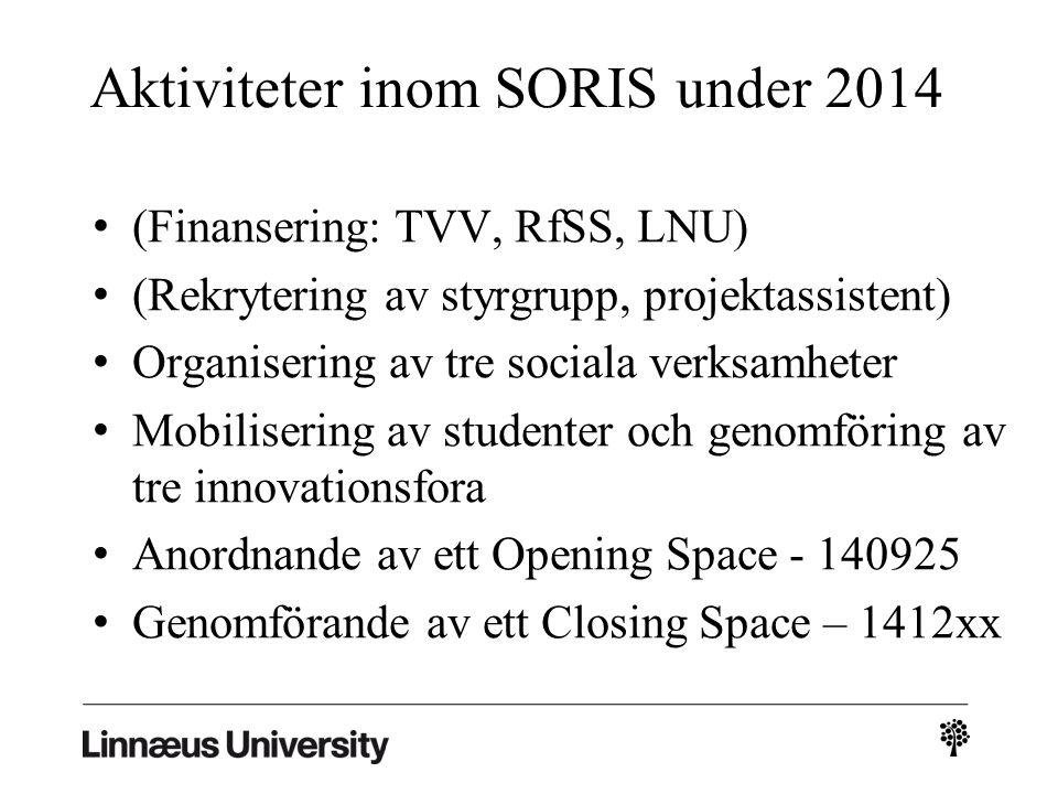 Aktiviteter inom SORIS under 2014 (Finansering: TVV, RfSS, LNU) (Rekrytering av styrgrupp, projektassistent) Organisering av tre sociala verksamheter Mobilisering av studenter och genomföring av tre innovationsfora Anordnande av ett Opening Space - 140925 Genomförande av ett Closing Space – 1412xx