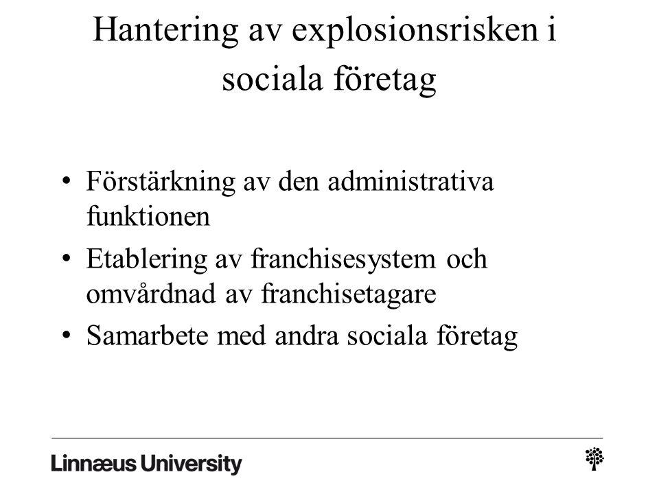 Hantering av explosionsrisken i sociala företag Förstärkning av den administrativa funktionen Etablering av franchisesystem och omvårdnad av franchisetagare Samarbete med andra sociala företag