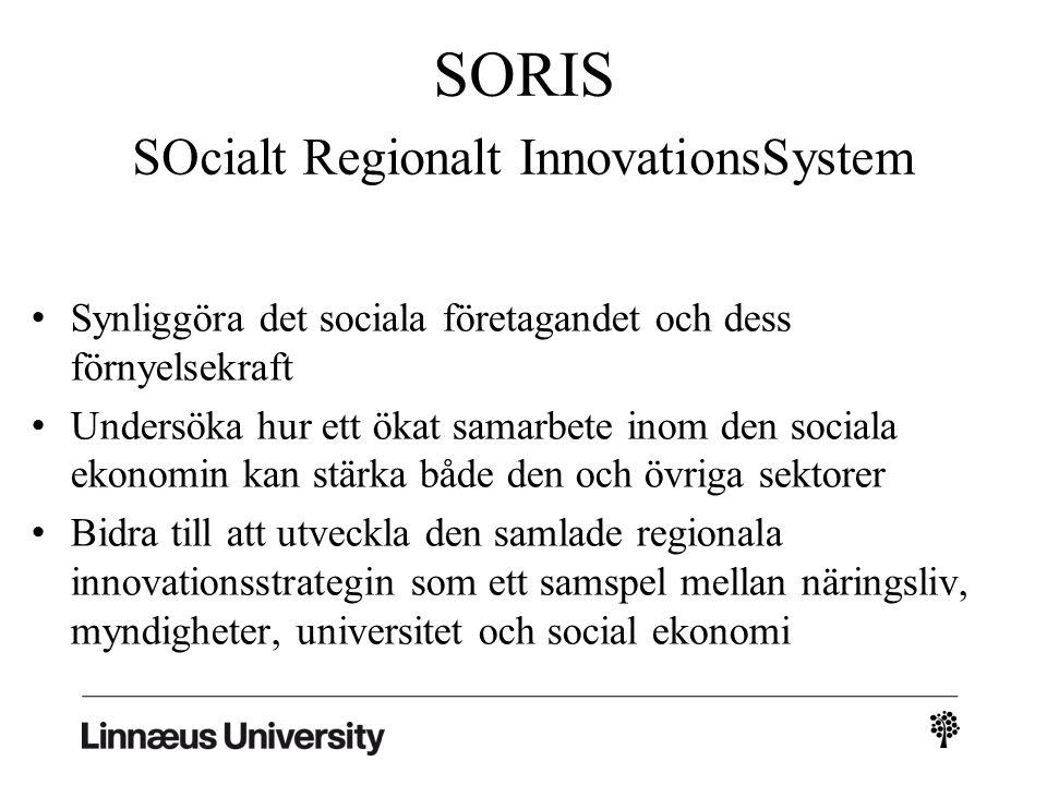 SORIS SOcialt Regionalt InnovationsSystem Synliggöra det sociala företagandet och dess förnyelsekraft Undersöka hur ett ökat samarbete inom den sociala ekonomin kan stärka både den och övriga sektorer Bidra till att utveckla den samlade regionala innovationsstrategin som ett samspel mellan näringsliv, myndigheter, universitet och social ekonomi