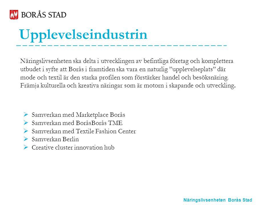 Näringslivsenheten Borås Stad Upplevelseindustrin Näringslivsenheten ska delta i utvecklingen av befintliga företag och komplettera utbudet i syfte att Borås i framtiden ska vara en naturlig upplevelseplats där mode och textil är den starka profilen som förstärker handel och besöksnäring.