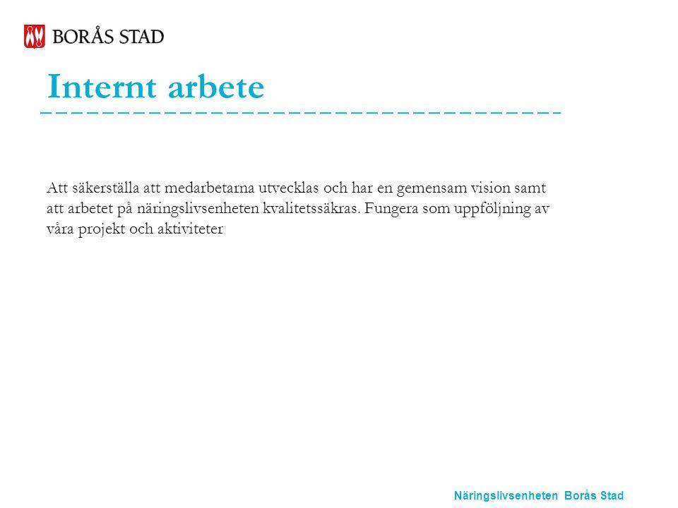 Näringslivsenheten Borås Stad Internt arbete Att säkerställa att medarbetarna utvecklas och har en gemensam vision samt att arbetet på näringslivsenheten kvalitetssäkras.