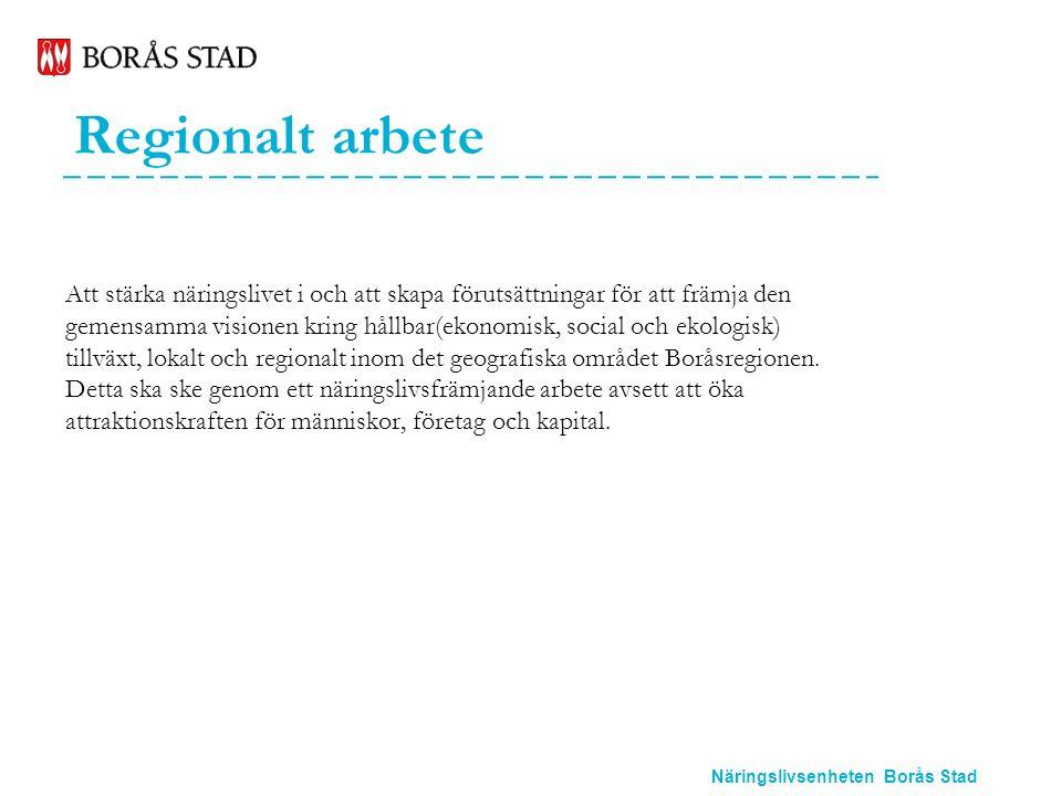 Näringslivsenheten Borås Stad Regionalt arbete Att stärka näringslivet i och att skapa förutsättningar för att främja den gemensamma visionen kring hållbar(ekonomisk, social och ekologisk) tillväxt, lokalt och regionalt inom det geografiska området Boråsregionen.