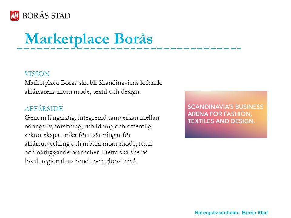 Näringslivsenheten Borås Stad Marketplace Borås VISION Marketplace Borås ska bli Skandinaviens ledande affärsarena inom mode, textil och design.
