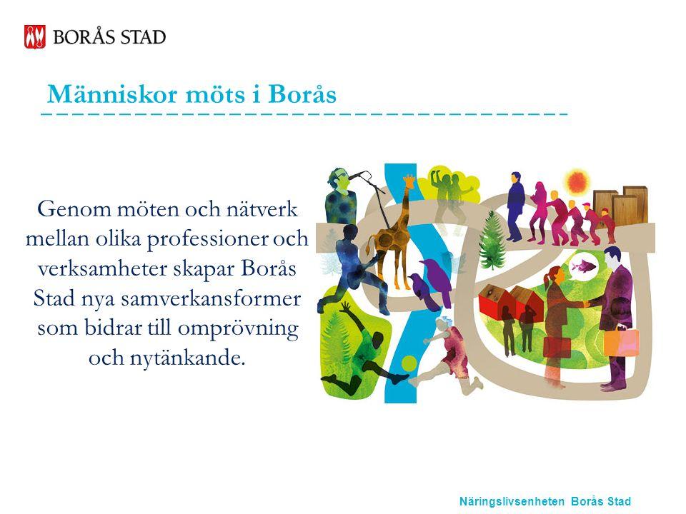 Näringslivsenheten Borås Stad Människor möts i Borås Genom möten och nätverk mellan olika professioner och verksamheter skapar Borås Stad nya samverkansformer som bidrar till omprövning och nytänkande.