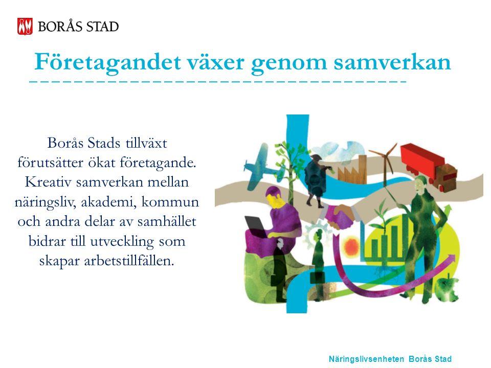 Näringslivsenheten Borås Stad Etablering Näringslivsenheten ska skapa goda förutsättningar för om- och nyetableringar i Borås och attrahera företag att etablera sig i staden.