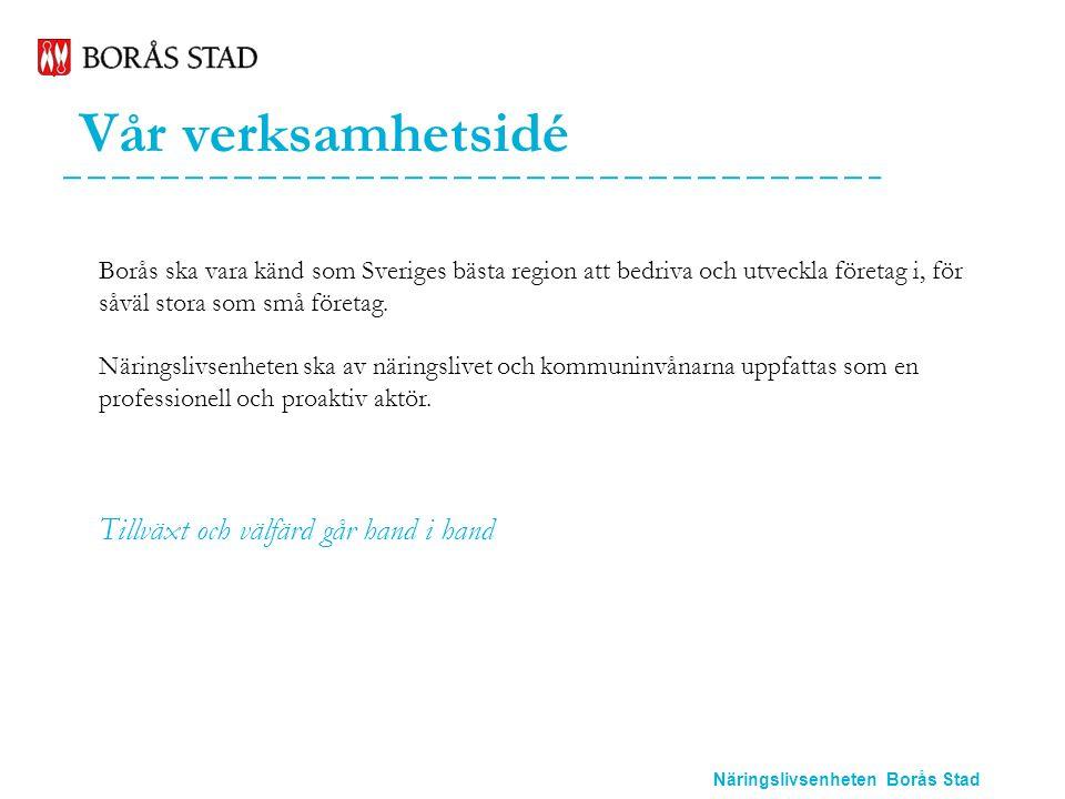 Näringslivsenheten Borås Stad Vår verksamhetsidé Borås ska vara känd som Sveriges bästa region att bedriva och utveckla företag i, för såväl stora som små företag.