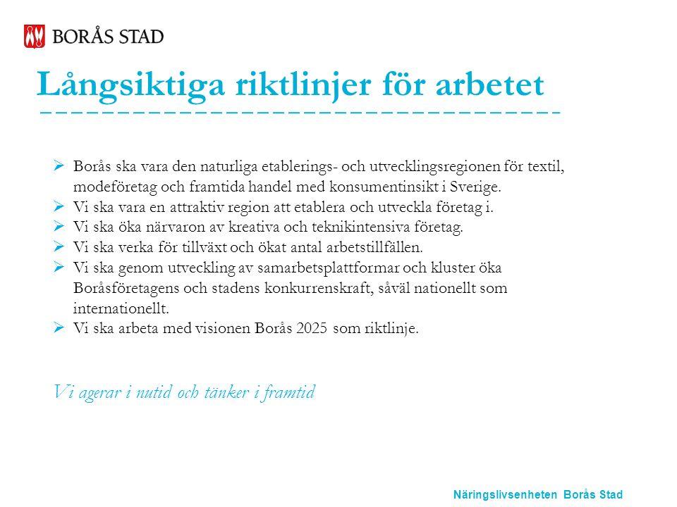 Näringslivsenheten Borås Stad Våra målområden 2016-2017  Upplevelseindustrin  Miljö  Internationellt arbete  Omvärldsanalys  Framtidens handel  Lokal tillväxt  Etablering  Kommunikation  Internt arbete  Regionalt arbete