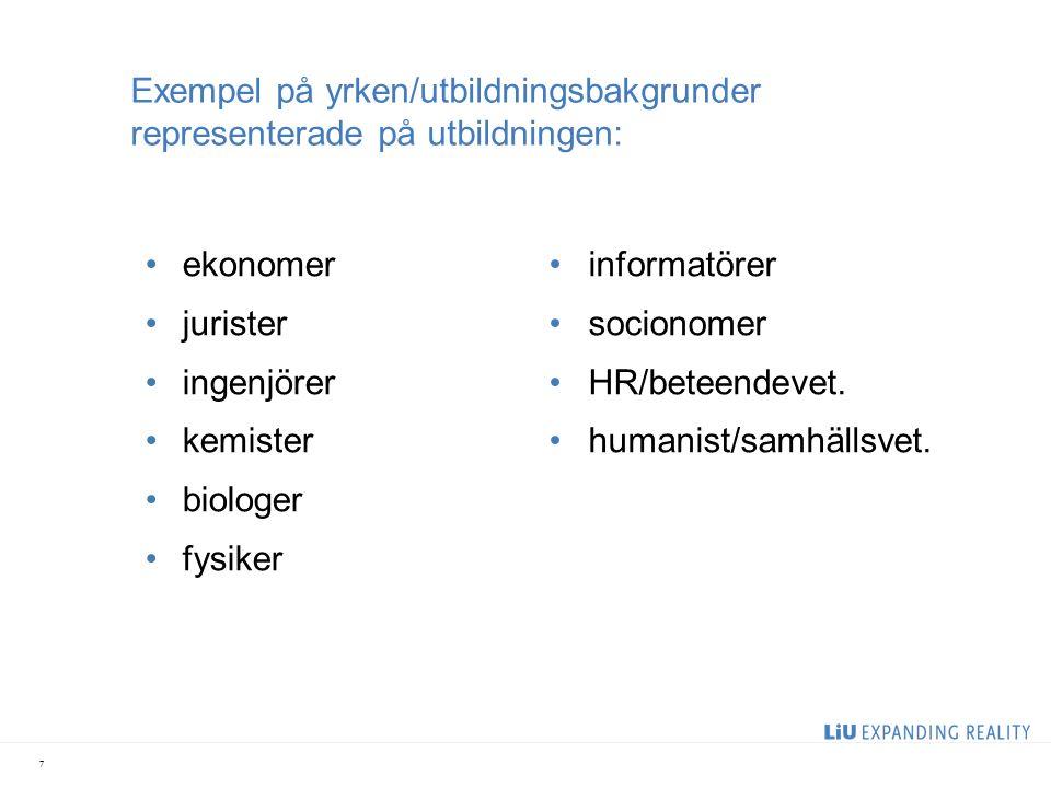 Exempel på yrken/utbildningsbakgrunder representerade på utbildningen: ekonomer jurister ingenjörer kemister biologer fysiker informatörer socionomer HR/beteendevet.