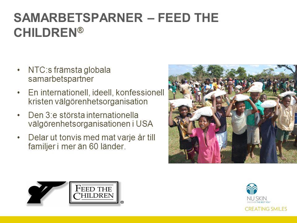SAMARBETSPARNER – FEED THE CHILDREN ® NTC:s främsta globala samarbetspartner En internationell, ideell, konfessionell kristen välgörenhetsorganisation Den 3:e största internationella välgörenhetsorganisationen i USA Delar ut tonvis med mat varje år till familjer i mer än 60 länder.