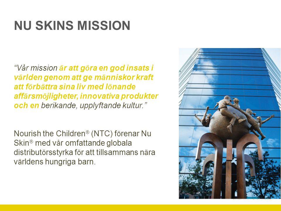 NU SKINS DISTRIBUTÖRER GÖR EN INSATS Till dags dato har Nu Skin-familjen köpt och donerat mer än 450 miljoner matportioner till undernärda barn.