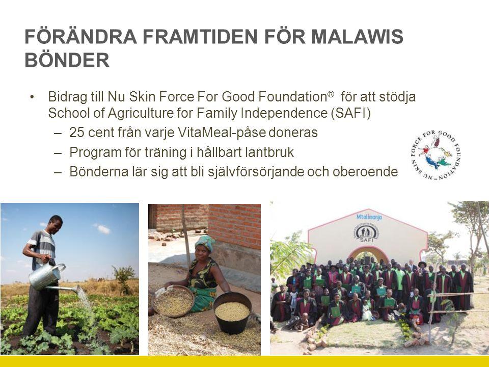 FÖRÄNDRA FRAMTIDEN FÖR MALAWIS BÖNDER Bidrag till Nu Skin Force For Good Foundation ® för att stödja School of Agriculture for Family Independence (SAFI) –25 cent från varje VitaMeal-påse doneras –Program för träning i hållbart lantbruk –Bönderna lär sig att bli självförsörjande och oberoende