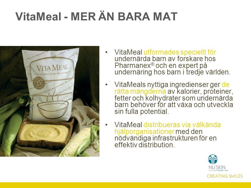 VitaMeal - MER ÄN BARA MAT VitaMeal utformades speciellt för undernärda barn av forskare hos Pharmanex ® och en expert på undernäring hos barn i tredje världen.