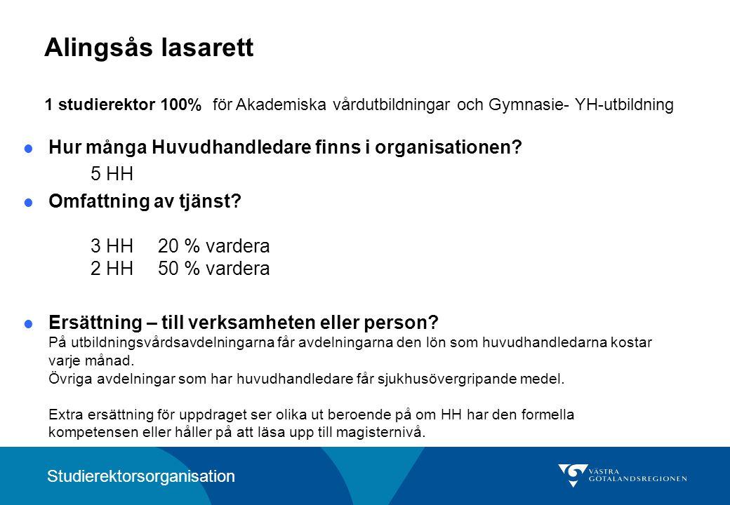 Alingsås lasarett 1 studierektor 100% för Akademiska vårdutbildningar och Gymnasie- YH-utbildning Hur många Huvudhandledare finns i organisationen.