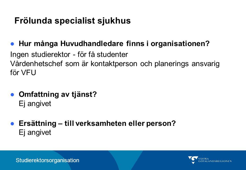 Frölunda specialist sjukhus Hur många Huvudhandledare finns i organisationen.