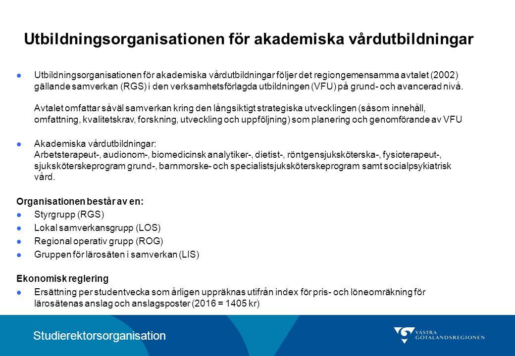Utbildningsorganisationen för akademiska vårdutbildningar Utbildningsorganisationen för akademiska vårdutbildningar följer det regiongemensamma avtalet (2002) gällande samverkan (RGS) i den verksamhetsförlagda utbildningen (VFU) på grund- och avancerad nivå.