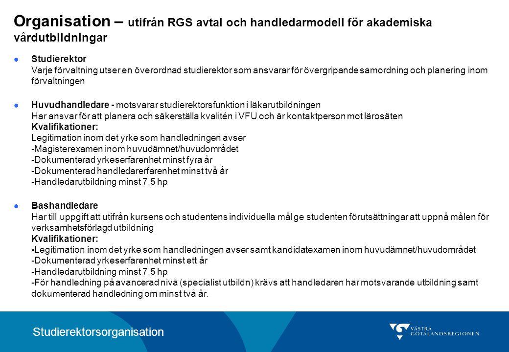 Organisation – utifrån RGS avtal och handledarmodell för akademiska vårdutbildningar Studierektor Varje förvaltning utser en överordnad studierektor som ansvarar för övergripande samordning och planering inom förvaltningen Huvudhandledare - motsvarar studierektorsfunktion i läkarutbildningen Har ansvar för att planera och säkerställa kvalitén i VFU och är kontaktperson mot lärosäten Kvalifikationer: Legitimation inom det yrke som handledningen avser -Magisterexamen inom huvudämnet/huvudområdet -Dokumenterad yrkeserfarenhet minst fyra år -Dokumenterad handledarerfarenhet minst två år -Handledarutbildning minst 7,5 hp Bashandledare Har till uppgift att utifrån kursens och studentens individuella mål ge studenten förutsättningar att uppnå målen för verksamhetsförlagd utbildning Kvalifikationer: -Legitimation inom det yrke som handledningen avser samt kandidatexamen inom huvudämnet/huvudområdet -Dokumenterad yrkeserfarenhet minst ett år -Handledarutbildning minst 7,5 hp -För handledning på avancerad nivå (specialist utbildn) krävs att handledaren har motsvarande utbildning samt dokumenterad handledning om minst två år.