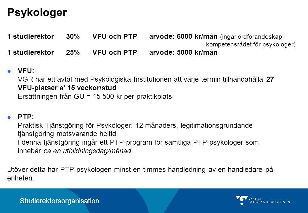 Psykologer 1 studierektor 30% VFU och PTParvode: 6000 kr/mån (ingår ordförandeskap i kompetensrådet för psykologer) 1 studierektor 25%VFU och PTParvode: 5000 kr/mån VFU: VGR har ett avtal med Psykologiska Institutionen att varje termin tillhandahålla 27 VFU-platser a 15 veckor/stud Ersättningen från GU = 15 500 kr per praktikplats PTP: Praktisk Tjänstgöring för Psykologer: 12 månaders, legitimationsgrundande tjänstgöring motsvarande heltid.