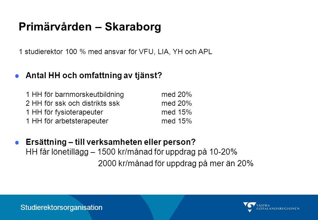 Primärvården Södra Älvsborg 1 studierektor 100 % med ansvar för VFU, LIA, YH och APL Hur många Huvudhandledare finns i organisationen.