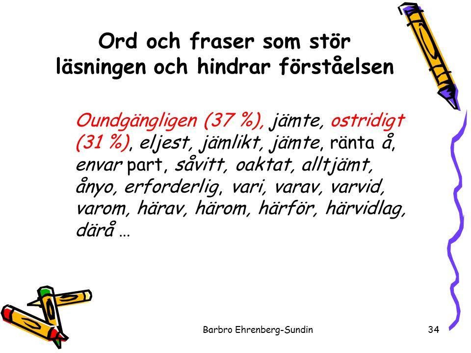 Ord och fraser som stör läsningen och hindrar förståelsen Barbro Ehrenberg-Sundin34 Oundgängligen (37 %), jämte, ostridigt (31 %), eljest, jämlikt, jämte, ränta å, envar part, såvitt, oaktat, alltjämt, ånyo, erforderlig, vari, varav, varvid, varom, härav, härom, härför, härvidlag, därå …