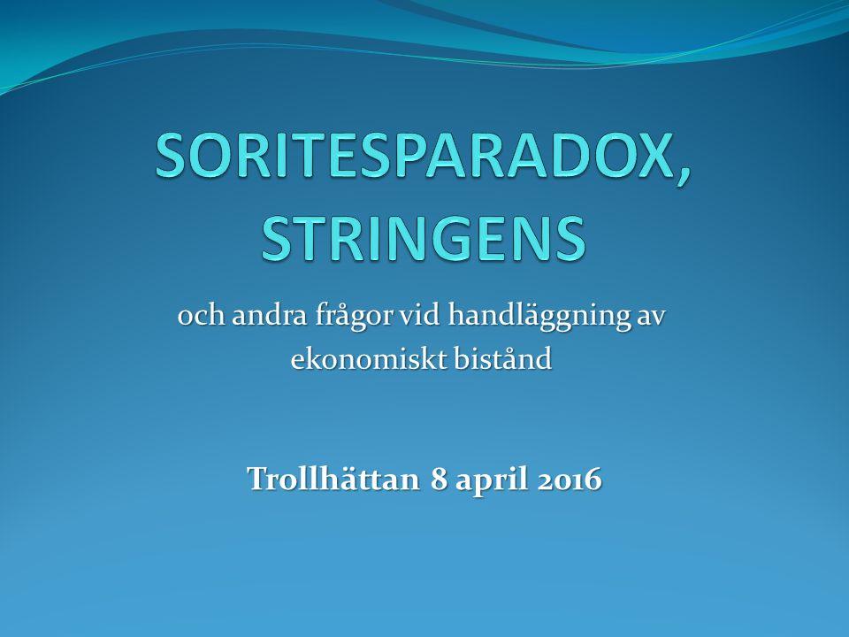 och andra frågor vid handläggning av ekonomiskt bistånd Trollhättan 8 april 2016