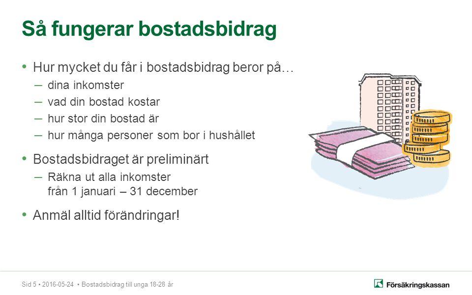 Sid 6 2016-05-24 Bostadsbidrag till unga 18-28 år Anmäl alltid förändringar.