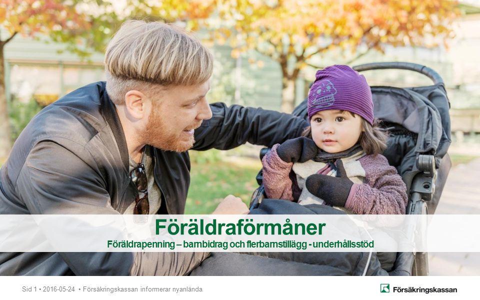 Sid 1 2016-05-24 Försäkringskassan informerar nyanlända Föräldraförmåner Föräldrapenning – barnbidrag och flerbarnstillägg - underhållsstöd
