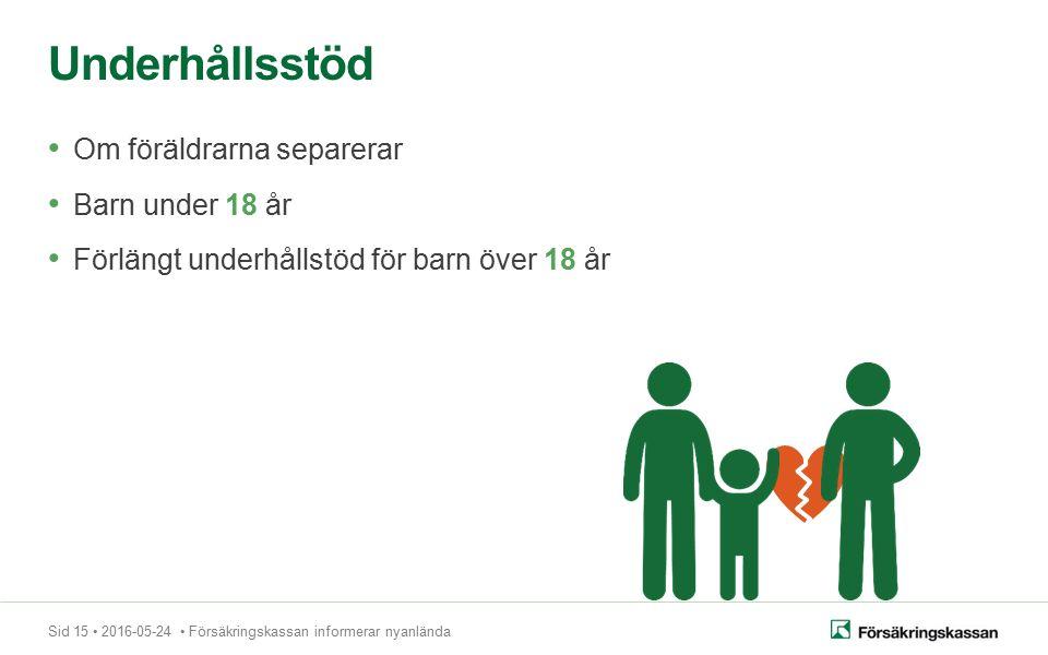 Sid 15 2016-05-24 Försäkringskassan informerar nyanlända Om föräldrarna separerar Barn under 18 år Förlängt underhållstöd för barn över 18 år Underhållsstöd