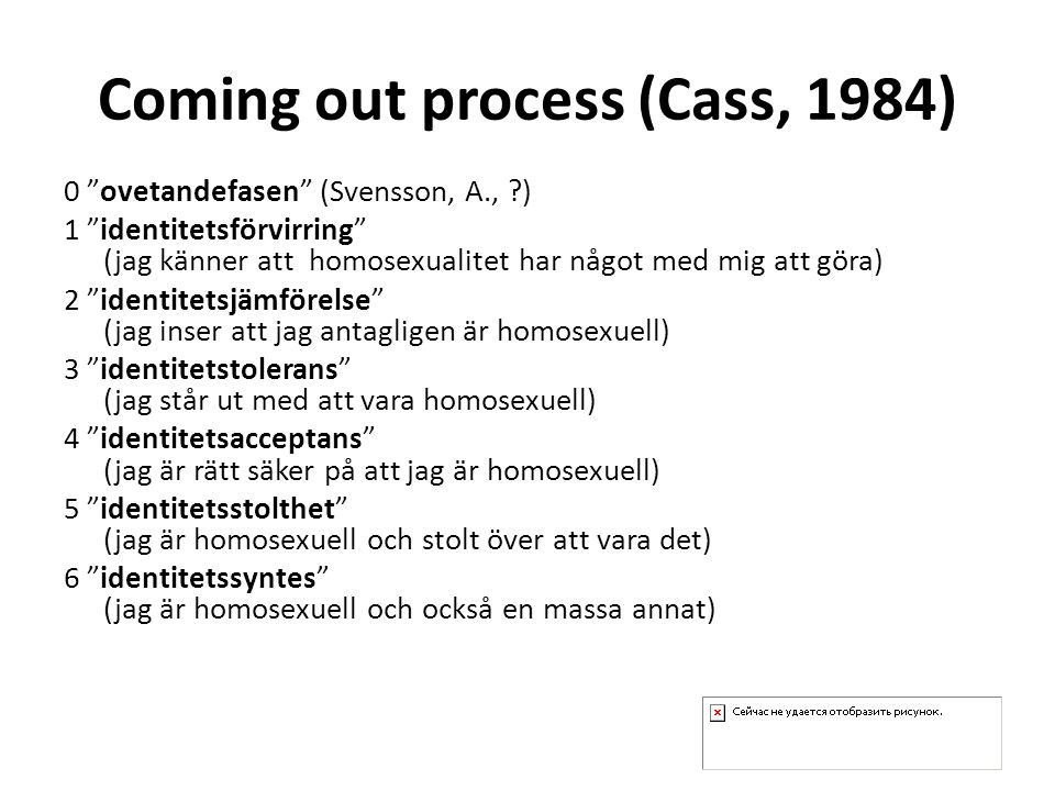 Coming out process (Cass, 1984) 0 ovetandefasen (Svensson, A., ) 1 identitetsförvirring (jag känner att homosexualitet har något med mig att göra) 2 identitetsjämförelse (jag inser att jag antagligen är homosexuell) 3 identitetstolerans (jag står ut med att vara homosexuell) 4 identitetsacceptans (jag är rätt säker på att jag är homosexuell) 5 identitetsstolthet (jag är homosexuell och stolt över att vara det) 6 identitetssyntes (jag är homosexuell och också en massa annat)