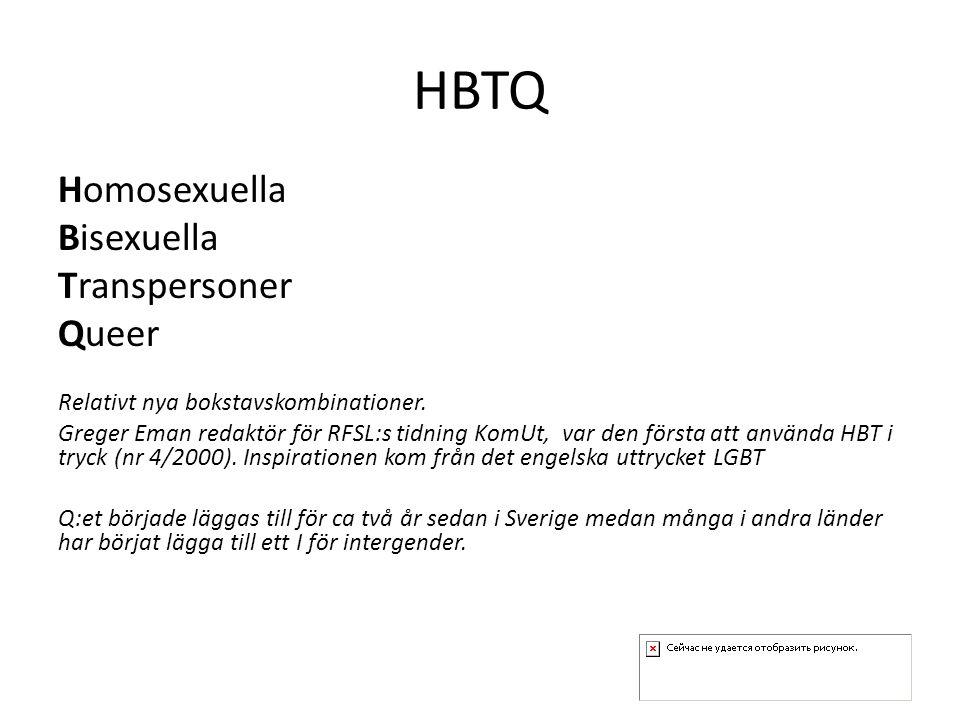 HBTQ Homosexuella Bisexuella Transpersoner Queer Relativt nya bokstavskombinationer. Greger Eman redaktör för RFSL:s tidning KomUt, var den första att