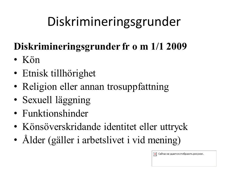 Diskrimineringsgrunder Diskrimineringsgrunder fr o m 1/1 2009 Kön Etnisk tillhörighet Religion eller annan trosuppfattning Sexuell läggning Funktionshinder Könsöverskridande identitet eller uttryck Ålder (gäller i arbetslivet i vid mening)