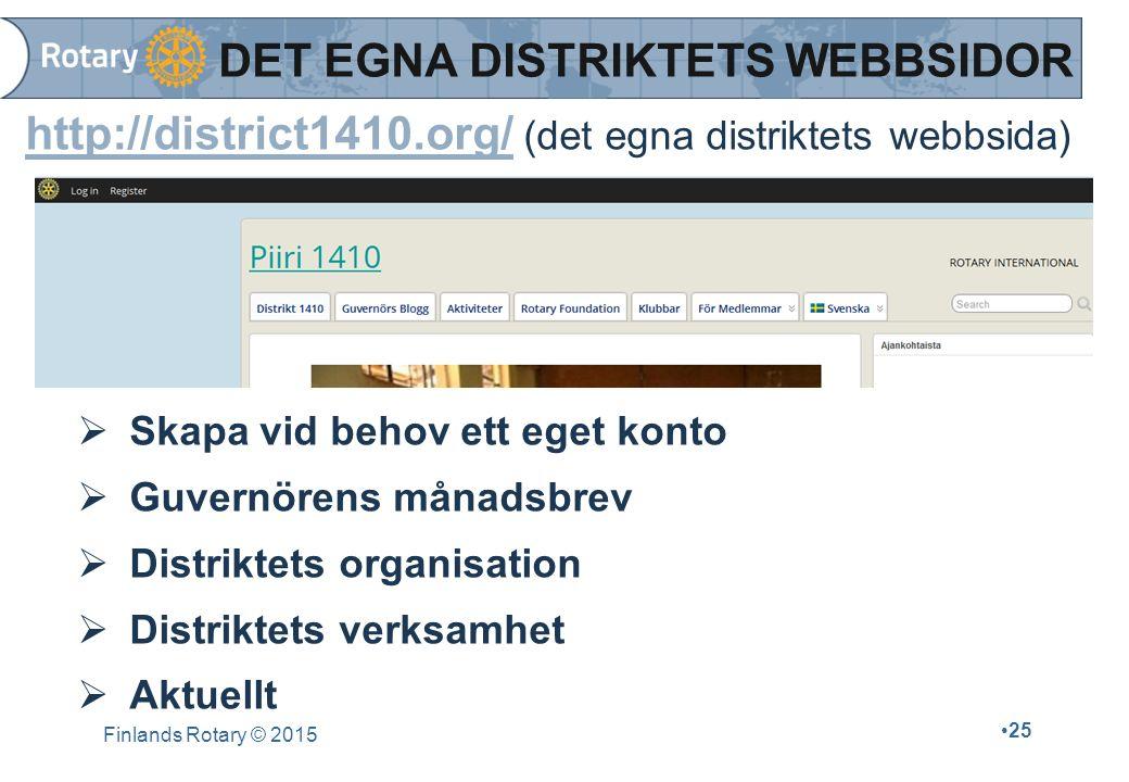 http://district1410.org/http://district1410.org/ (det egna distriktets webbsida)  Skapa vid behov ett eget konto  Guvernörens månadsbrev  Distriktets organisation  Distriktets verksamhet  Aktuellt Finlands Rotary © 2015 25 DET EGNA DISTRIKTETS WEBBSIDOR