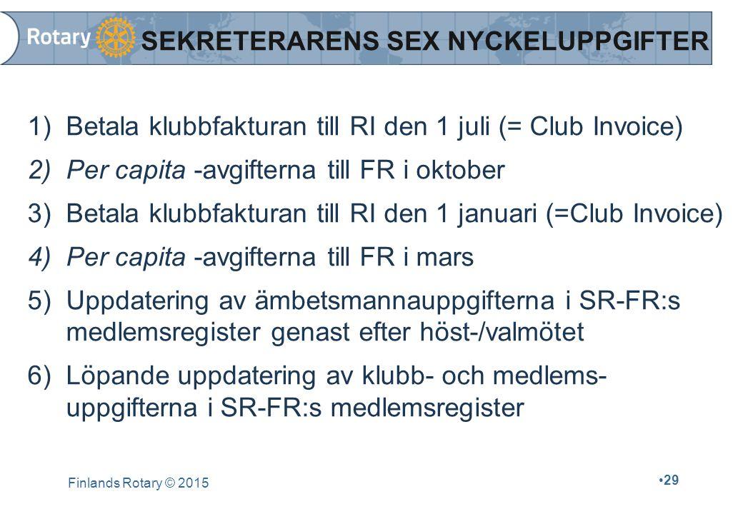 SEKRETERARENS SEX NYCKELUPPGIFTER 1)Betala klubbfakturan till RI den 1 juli (= Club Invoice) 2)Per capita -avgifterna till FR i oktober 3)Betala klubb