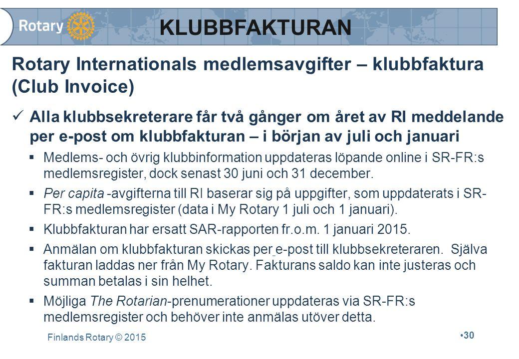 Finlands Rotary © 2015 30 Rotary Internationals medlemsavgifter – klubbfaktura (Club Invoice) Alla klubbsekreterare får två gånger om året av RI medde