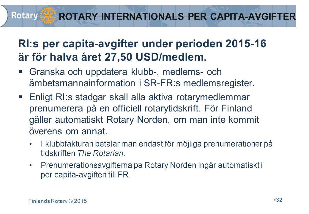 Finlands Rotary © 2015 32 ROTARY INTERNATIONALS PER CAPITA-AVGIFTER RI:s per capita-avgifter under perioden 2015-16 är för halva året 27,50 USD/medlem