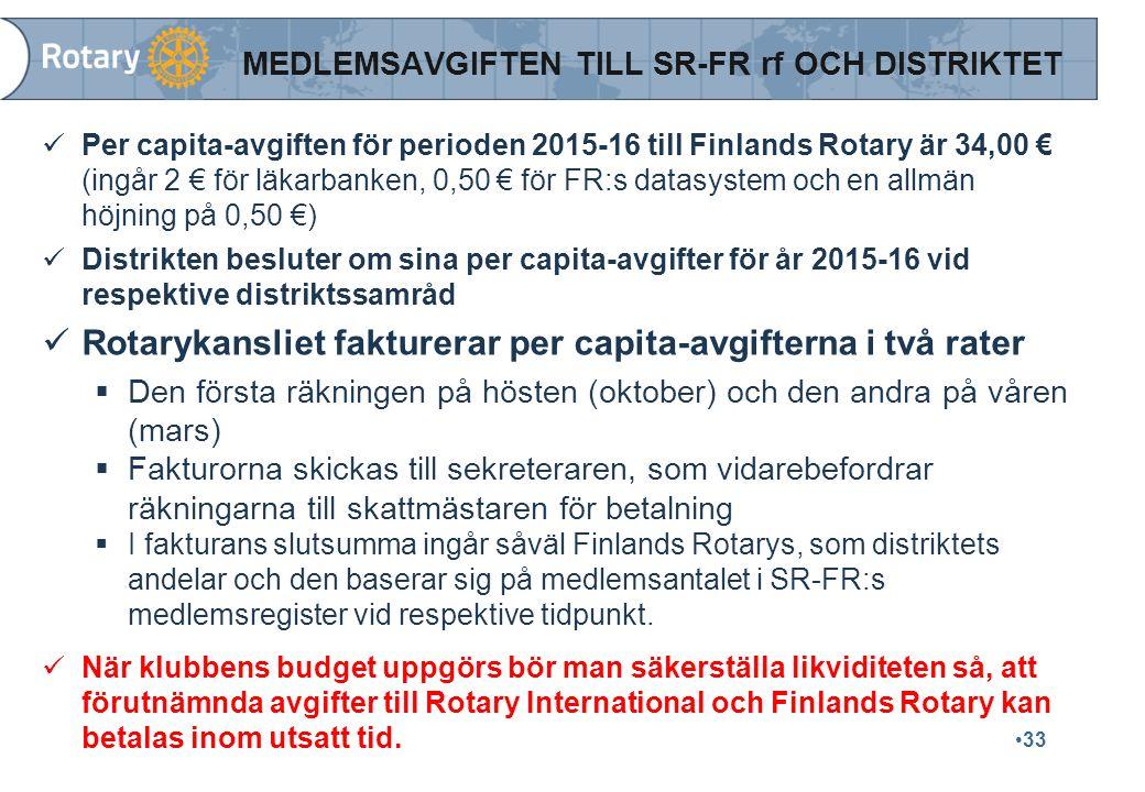 33 MEDLEMSAVGIFTEN TILL SR-FR rf OCH DISTRIKTET Per capita-avgiften för perioden 2015-16 till Finlands Rotary är 34,00 € (ingår 2 € för läkarbanken, 0,50 € för FR:s datasystem och en allmän höjning på 0,50 €) Distrikten besluter om sina per capita-avgifter för år 2015-16 vid respektive distriktssamråd Rotarykansliet fakturerar per capita-avgifterna i två rater  Den första räkningen på hösten (oktober) och den andra på våren (mars)  Fakturorna skickas till sekreteraren, som vidarebefordrar räkningarna till skattmästaren för betalning  I fakturans slutsumma ingår såväl Finlands Rotarys, som distriktets andelar och den baserar sig på medlemsantalet i SR-FR:s medlemsregister vid respektive tidpunkt.